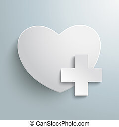 Add A Heart - White heart with plus symbol on the grey...