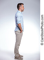 side view of a casual man