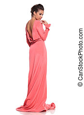 粉紅色, 長袍, 婦女, 背, 年輕, 看法