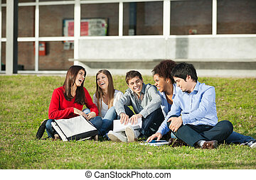Students Sitting Together On Grass At University Campus -...