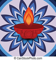 Vector Diwali lamp beautiful rangoli art colorful design