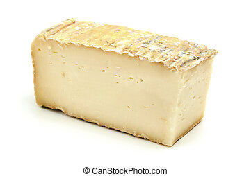 Taleggio cheese on a white background