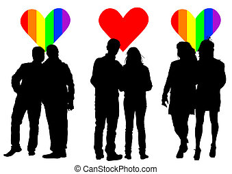 Lovers hearts - Vector drawing silhouettes of people on a...