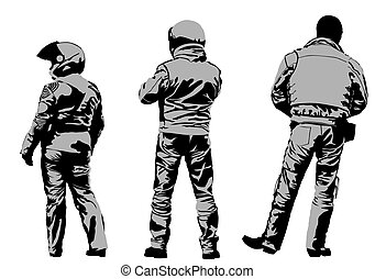Protective gear - Vector drawing silhouettes of...