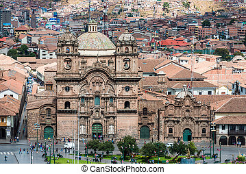 aerial view of Cuzco city peruvian Andes - aerial view of...
