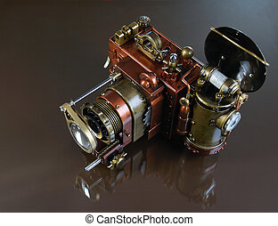 Camera steampunk - Camera steampunk on a grey background...