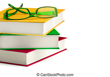 a passion for reading - stack of books with a peair of...