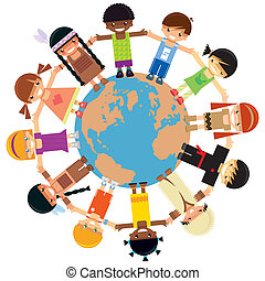Many children holding their hands around Earth - Many kids...