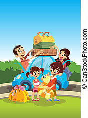 Family preparing for vacations - Cartoon happy family...