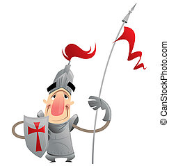 Funny cartoon knight - A cartoon knight with spear and...
