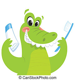 Happy crocodile holding toothbrush and toothpaste - Happy...