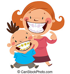 Happy mom and son with braces - Happy mom and son smiling...