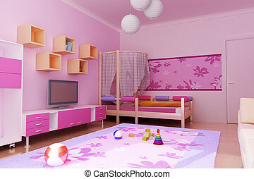 interior of the childrens room - 3d interior of the...