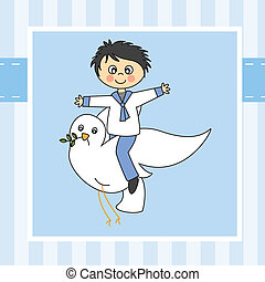 Boy first communion.  Boy flying with a dove