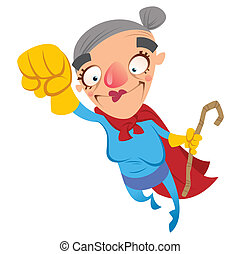 Super cartoon grandma - Super hero grandmother flying