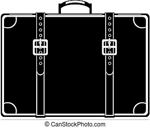 Black vintage briefcase on white background Vector eps 10...