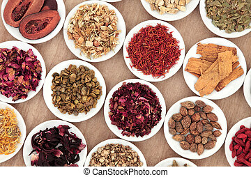 Chinese Herbs - Chinese herbal medicine selection in white...