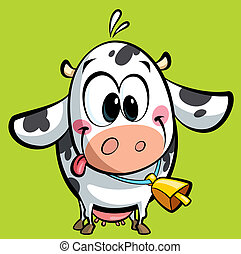 Cartoon cute baby cow - Cartoon baby cow with a big cowbell...