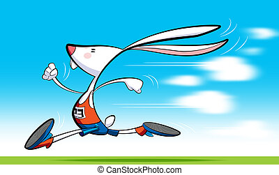 Fast rabbit - A cartoon runner rabbit, wearing shorts,...