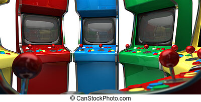 A circle of vintage unbranded arcade games with joysticks...