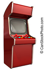 A vintage red unbranded arcade game with a joystick and four...