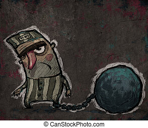 Prisoner with a huge metal ball - Sad prisoner with a huge...
