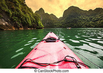 Canoe in Halong - Ha Long Bay,Vietnam