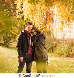love in  the autumn park