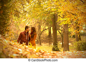 passionate love in the autumn park