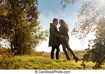 Hug the autumn park