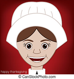 Happy Thanksgiving - Thanksgiving Pilgrim card in vector...
