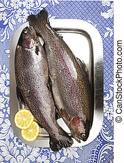 Two fresh rainbow trouts on a stainless steel tray,...