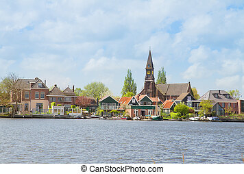 Zaandijk waterfront, Netherland - rural dutch scenery of...