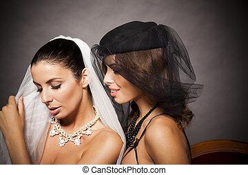 sexy, élégant, lesbienne, couple