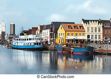 Husums beautiful port - The old port of Husum with small and...