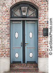 Vintage style country door in blue - Beautiful blue wooden...