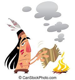 Cartoon indian man sending a message with smoke signals -...