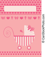 New born baby girl greeting card - New born baby girl pink...