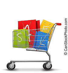 Shopping bags with sale in shopping cart. Concept of discount. Vector illustration.