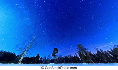 Night starry sky on a fisheye. Fixed distortion. Time Lapse. 4K