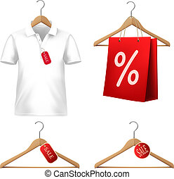 Clothes sale set with hangers and price tags. Concept of...