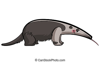 Cartoon anteater animal eating sticking out its tongue