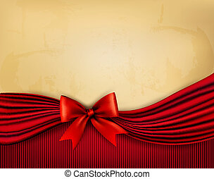 Holiday background with old paper and red gift bow. Vector illustration.