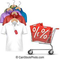Clothes hanger with shirts with price tag. Concept of...