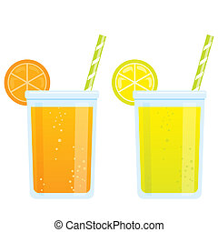 Cooling cartoon tonic beverages cold refreshing drinks of...