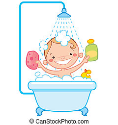 Happy cartoon baby kid in bath tub - Happy cartoon baby kid...