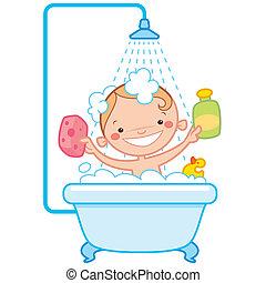 Happy cartoon baby kid in bath tub - Happy cartoon baby kid...