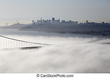 San Fransisco Skyline fog rolling in morning sunrise