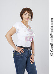 latin pretty middle aged woman posing on white background