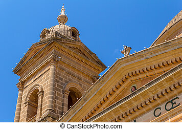 Mgarr Church Tower Detail - Detail of the roof and tower of...